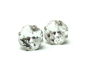 Clear Crystal Stud Earrings Classic Sparkling Shimmer Solitaire Swarovski 10mm 12mm Clear Simple Hot Sterling Post Women's Jewelry White