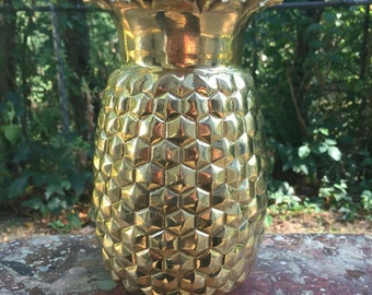Vintage brass pineapple decor vase