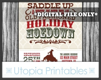 Holiday Hoedown Christmas Invitation Country Western Cowboy Theme Xmas Winter Old West Party Digital Printable Customized Rustic 5x7 Horse