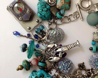 Beach Charm bracelet fishing fish blue turquoise vacation summer beads blue green dreaming of the sea  jewelry     new and vintage parts