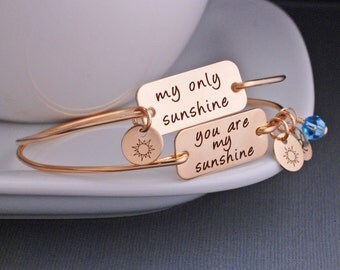 You are my Sunshine Bracelet Personalized Mother Daughter Bracelet Set, Sterling Silver My Only Sunshine Mother's Day Gift