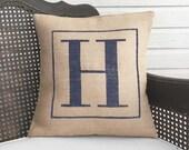 Classic Monogram  - Burlap Pillow - Monogram Pillow Burlap - Personalized - Letter Pillow - Initial Pillow - Alphabet Pillow