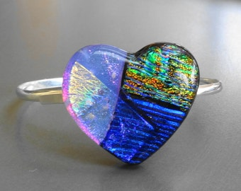 Dichroic Heart Bangle Bracelet, Fused Glass Bangle Bracelet, Valentine Jewelry, Fused Glass Heart, Blue and Purple Glass Bracelet