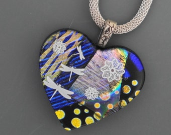 Glass Dragonfly Pendant, Fused Glass Heart, Dichroic Fused Glass Heart Pendant, Valentine Heart Pendant, Gold and Blue Heart Pendant