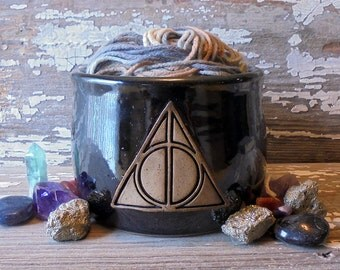 Harry Potter Yarn Bowl - Deathly Hallows - Handmade Pottery - Knitting - Harry Potter Inspired - Fandom - Glorious Geekdom