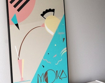 sale vintage framed Moka art print by Lepas / art deco / turquoise mint / mocha black / pink / tan / banana yellow and white