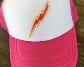YOUTH or TODDLER Girls Lightning Bolt Trucker Hat Baseball Cap Snap Back