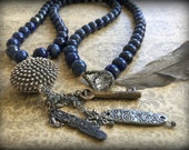 Just Beyond the Secret Garden Lapis and Sterling Long Layering Necklace OOAK