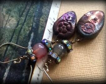 Rustic Treasures Agate and Crystal Earrings