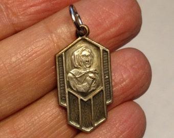 SALE TODAY St Marguerite d'Youville Vintage Religious Medal Pendant Darkened Silver Plated Art Deco Saint