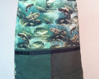 Unisex barbecue apron fish print with matching kitchen towel