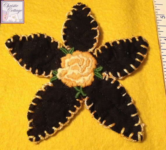 Daisy Applique, Yellow Vintage Rose, 003 Made in America
