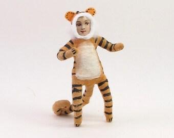 Spun Cotton Vintage Inspired Tiger Boy Figure/Ornament