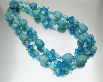 Blue Fruit Salad Necklace Double Strand West Germany Fabulous