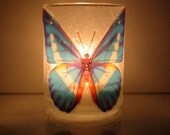 Butterfly Earth Light - candle, candleholder, wings, blue, butterfly candle, Nature inspired, Summer, glass, tea light, home décor, modern