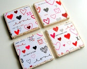 Unconditional Love Coasters - Tumbled Stone Earth Coasters - art papers, hearts, text, Valentine's Day, wedding, home decor, natural, gift