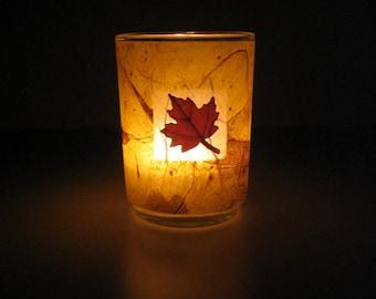 Real Autumn Maple Leaf Earth Light - botanical home décor, candle holder, pressed leaf, leaf, autumn, Canada, natural, woodland, glass, ooak