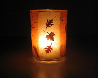 Falling Leaves - Real Autumn Leaves Earth Light - Candle, candle holder, pressed leaves, maple, oak, natural, woodland, Canada, glass, ooak