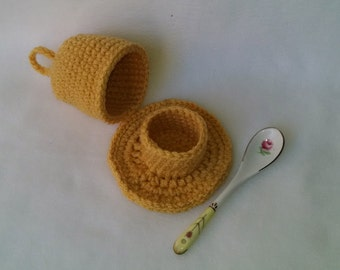 Egg Cosy 2 Piece Soft Boiled Egg Set - egg cozy base with top - egg yolk gold - cozy for warmer eggs