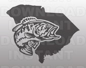 Fishing SVG File,S Carolina Bass SVG,Largemouth Bass SVG File,Cuttable Vector Clip Art for Commercial & Personal Use-Cricut,Cameo,Silhouette