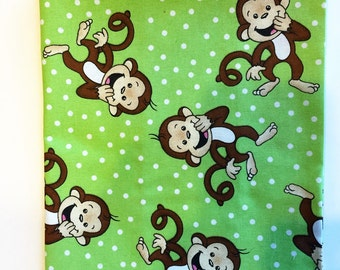 Hardback Book Cover, Fabric Book Cover for Hardback Book, Monkey Fabric, Hardback Book, Cotton Monkey Fabric, Gift for Reader 6 1/2 x 9 1/2