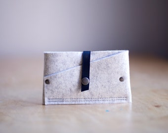 Tiny Clutch iPhone Case, industrial wool felt and leather - Oat