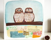 Art - Spotted Owls Mixed Media Oil Painting - Owl Painting - Owl Artwork - Spotted Owl Painting - Mixed Media Collage Art - Two Spotted Owls
