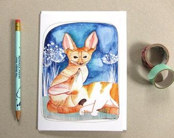 Blank Greeting Card - Love Card - Blank Greeting Card - Fennec Foxes Card - Anniversary Card - Fox Card - Fox Note Card - Fennec Foxes