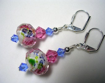 Blue Earrings Pink Eearrings Swarovski Earrings in Silver Pink and White Lampwork Silver Plate Leverback hooks wire wrapped Dangle Earrings