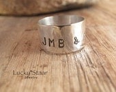 Sterling Silver Initial Ring, Silver Wide Band Ring