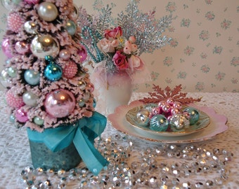 Bottle Brush Tree - Aqua, Pink, Teal, Crystal Star, Mercury Glass, OOAK