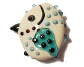 Chubby ivory bird glass bead pendant, handmade lampwork, Lamp work focal or orphan bead, art bead jewelry supplies, glassbead, SRAJD
