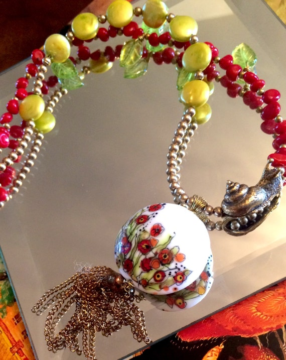Necklace California Poppy Lampwork brass bronze pearls and coral