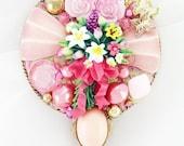 Half Off Sale Hand Mirror - Pretty Posies - Repurposed Jewelry - M001061