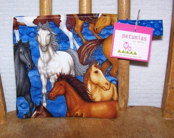 Reusable Little Snack Bag - pouch adults kids horses eco friendly by PETUNIAS
