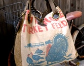 Red Rose Turkey Feed - Minnesota - Open Tote - Americana OOAK Canvas & Leather Tote W- vtg fabric... Selina Vaughan Studios
