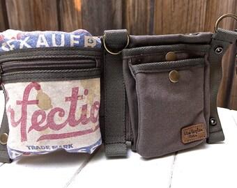 Perfection Seeds - Red Rose - Convertible Belt/Waist Bag Vintage seed sack W- Americana OOAK Canvas & Leather Bag Selina Vaughan Studios