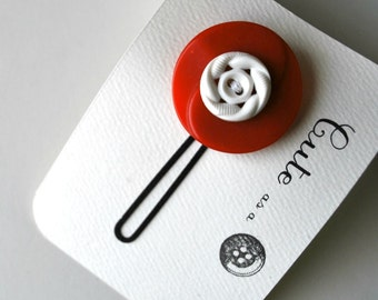 Cute as a Button--Red and White Vintage Button Hair Pin