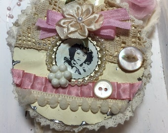 Shabby chic decorated heart ornament