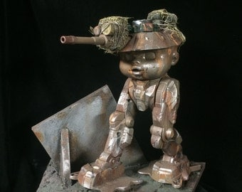 Baby Mech Tankhead walker custom action figure wasteland warrior diorama