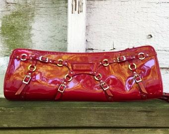 Red Vinyl Patent Leather Clutch Handbag Purse Vintage 1980s