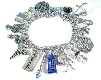 Dr Who Deluxe Charm Bracelet Tardis Police Phone Box Sonic Screwdriver Dalek Timey Wimey Weeping Angel River Song Dr's 2 Hearts