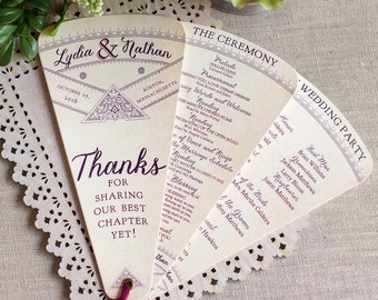 Wedding Program Fan - literary wedding - fan wedding programs - library wedding - fairytale wedding - wedding ceremony program -  petal fan