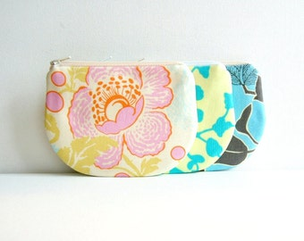 Coin Purse, Small Zipper Pouch, Choice of Colors, Women and Teen Mini Wallet, Amy Butler