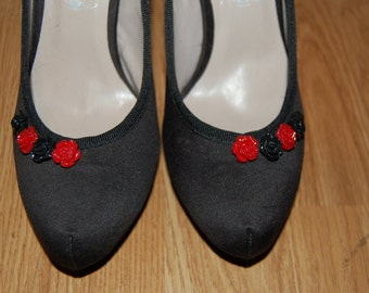red rhinestone heeled shoes