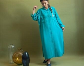 turquoise silk midi shirt dress / minimalist dress / oversized shirt dress / m / l / 1920d / B7