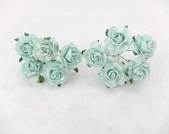 """10 1"""" mint paper roses - 25mm paper roses - mulberry paper roses 2.5 cm"""