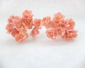 Peach paper flowers - 15 mm 20 peach orange mulberry paper hydrangea - peach mulberry paper flowers