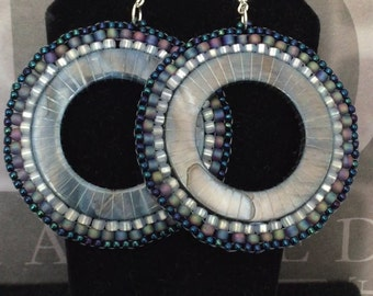 Large Blue Shell Seed Bead Hoop Earrings Big Bold Earrings Beadwork Jewelry - Shell Jewelry