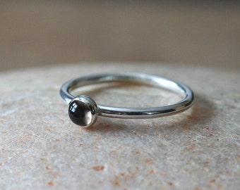 Smokey Quartz Stacking Ring in Sterling Silver, Gemstone Stack Ring, Size 2 to 15, November Birthstone, Womens Ring, Solitaire Ring, Brown
